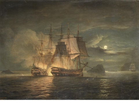 the french 74 hercule surrendering to hms mars off brest 21st april by thomas luny