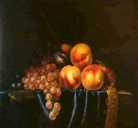 raisins, prunes et peches sur un velours a crepine et un  entablement de pierre by paul liegeois