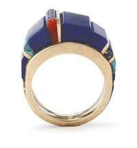 hopi gold and lapis ring by charles loloma