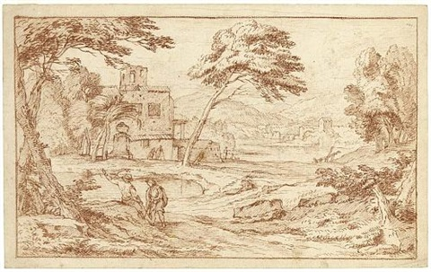 a southern landscape with men in the foreground and other figures near a building next to a pond by frans boudewyns