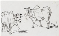 study of a village in india; study of cattle; two studies of goats (mounted as one) by george chinnery