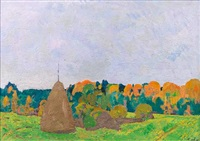 landscape with a haystack by nikolai efimovich timkov