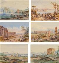 six vues d'italie dont des vues de baïa, ischia, fusaro, deux vues de paestum et une vue d'un port de la côte amalfitaine (6 works) by achille vianelli