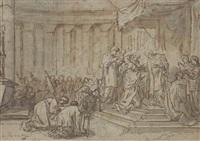 un jeune prêtre recevant la communion entouré d'ecclésiastiques dans une église by simon julien