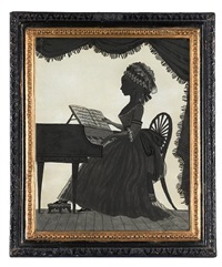 a silhouette of a lady, called sophia boddam, profile to the left, seated at a piano and wearing buckled shoes, dress with half-length sleeve and lace cuff, bonnet with frilled trim, ribbon and lace by william wellings