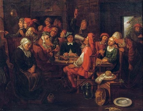 figures making merry in an inn by hubert van ravesteyn