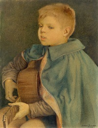 singender knabe mit gitarre by charles-louis rivier