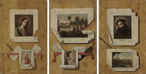 a trompe loeil still life with a painting of saint francis of assisi pinned to a wall 2 others set of 3 by antonio cioci