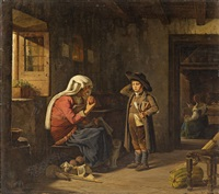 italian genre scene with grandmother and child by ernst meyer