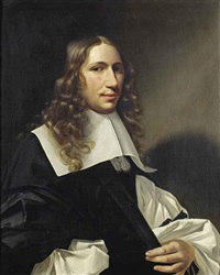 portrait of a gentleman, half-length, in a black gown, with a white chemise and white collar by christoffel pierson