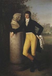 portrait de jean abraham andré poupart, troisième baron de neuflize, devant tivoli by gaspare landi