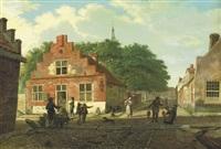 a village street with figures working and conversing by paulus constantijn la (la fargue) fargue