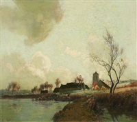 autumn sunlight on the banks of the marne (+ winter landscape with a flock of sheep; 2 works) by alexandre jacob