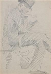 homme assis de profil à droite, jambe croisée (+ deux figures, verso) by georges seurat