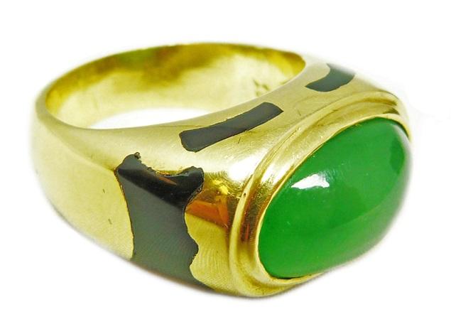 18k yg translucent jadeite gypsy style ring