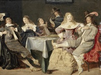 an elegant company merrymaking in an interior by dirck hals
