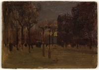 winter twilight, central park south by paul cornoyer