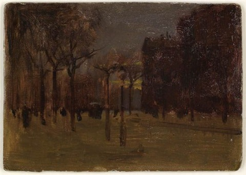 winter twilight central park south by paul cornoyer