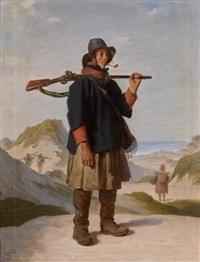 chasseur dans les dunes by jean-jacques-françois monanteuil