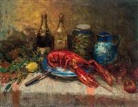 美酒龍蝦 (still life) by alfred théodore joseph bastien