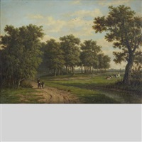 figures on a country road with cows grazing by marianus adrianus koekkoek