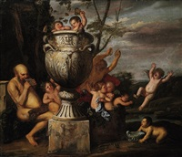 a bacchanalian scene with pan an putti pressing grapes - an allegory of autumn by karel philips spierincks