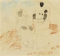 kvinna med tjänarinna och barn by carl fredrik hill