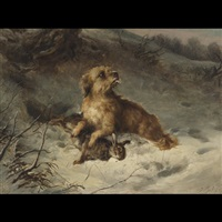 a dandy dinmont in the snow with a rabbit by thomas william earl