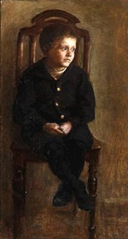 a boy sitting on a chair by frants peter didrik henningsen