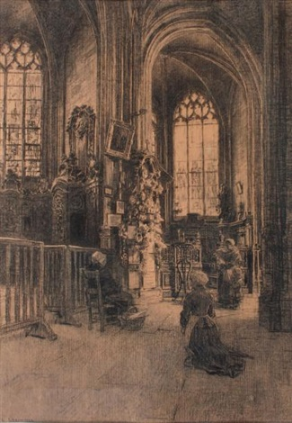 intérieur déglise by léon augustin lhermitte