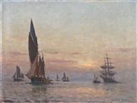 rentrée de barque de pêche au soleil couchant by paul jobert