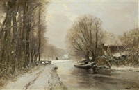river landscape in winter by louis apol