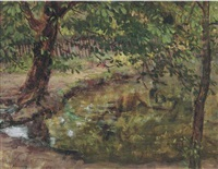 pond in golders hill park (+ 2 others; 3 works) by kalman kemeny