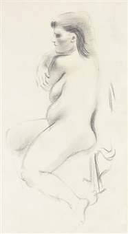 seated female nude by george grosz