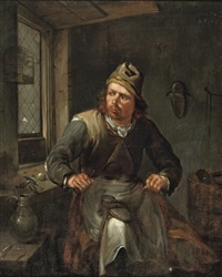 a cobbler in his workshop by egbert van heemskerck