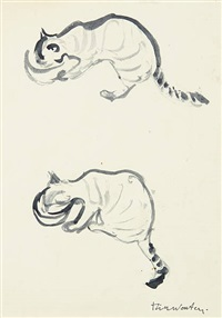 deux chats buvant by rik wouters