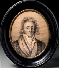 portrait d'un poète romantique, manteau et chemise entrouverts by firmin massot