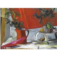 still life in red by panayiotis tetsis