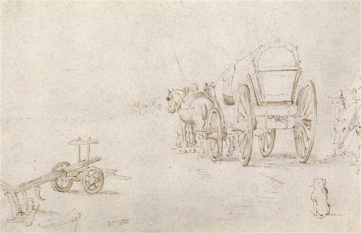 studienblatt mit pferdewagen und pflug by jan brueghel the elder
