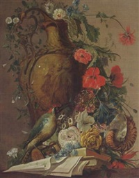 a still life with roses and other flowers in a sculpted stone vase, together with a green woodpecker, a nautilus shell, bubbles, books and papers by jacobus vonck