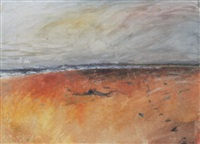 the shore, south gare, driftwood lying on the sands towards coatham by len tabner
