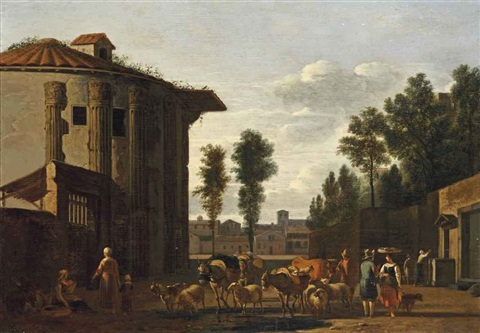 the temple of vesta rome with a herdsman and other figures by gerrit adriaensz berckheyde