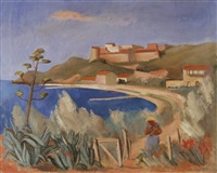 provencialische landschaft am meer by ernest bolens