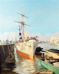 le havre, bateau au port by jacques-marie omer camoreyt