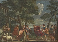 the infant paris discovered by the shepherds of mount ida by ludovico gimignani