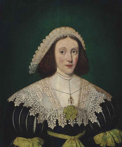 portrait of a lady half length in a black dress with slashed sleeves with a lace collar and headdress by gilbert jackson