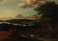 landscape with a horse-drawn carriage by carl loffler