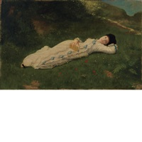 lady reclining on the grass by matthijs maris