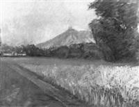 kornfeld, im hintergrund göttweig by oskar stössel