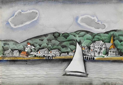 landscape with sailboat by ben shahn